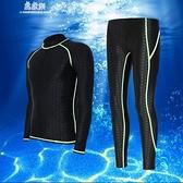 男士泳衣泳褲分體長袖套裝游泳長褲大碼皮防水母泳衣 易家樂