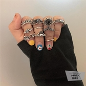 10只裝嘻哈指環韓版少女心寶石關節戒指【小檸檬3C】