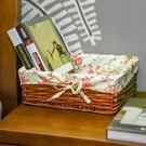 柳編內衣化妝品收納儲物筐桌面雜物整理箱零...