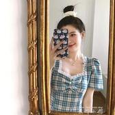 復古格子方領泡泡袖洋裝女夏2020法式小個子收腰顯瘦氣質桔梗裙