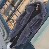店長推薦 2018秋冬季新款Gigi同款仿獺兔毛加厚長款連帽毛毛外套皮草大衣女