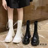 馬丁靴英倫風圓頭系帶中筒時尚中跟機車靴子女短靴【毒家貨源】