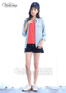 Victoria 口袋星星刺繡V領基本短袖T-女-橘紅/白