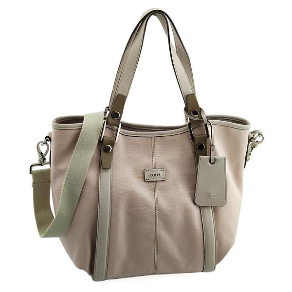 TODS 粉膚色帆布肩背斜背兩用G-Bag包(九成新)