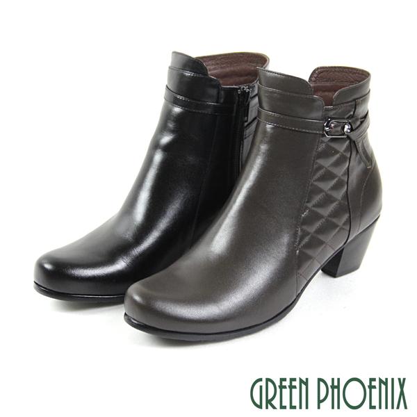 U15-20069 女款全真皮低跟短靴  扭結皮扣菱格紋水鑽全真皮粗跟短靴【GREEN PHOENIX】