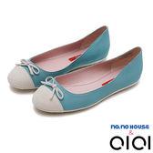 娃娃鞋 拼接蝴蝶結平底娃娃鞋(藍)*0101shoes【18-8167b】【現+預】