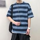 短袖t恤男港風ins條紋潮牌同款初中生打底衫復古五分袖潮男