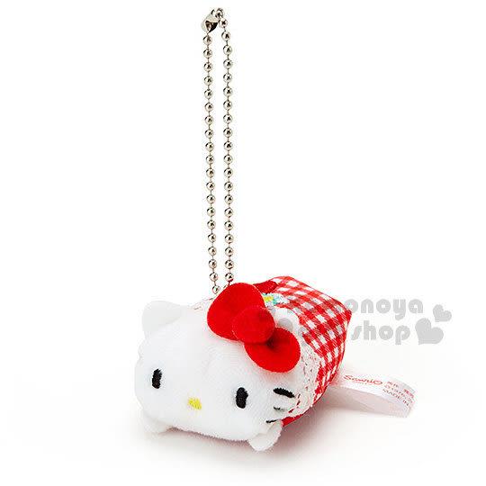 〔小禮堂〕Hello Kitty 絨毛造型吊飾《S.紅.大臉.格紋.趴姿》附珠鍊.可擦拭螢幕 4901610-67743