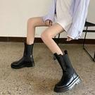 煙筒靴女2020網紅新款秋冬季百搭短靴馬丁靴中筒厚底松糕切馬丁靴一米陽光