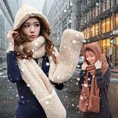 新款手套帽子圍巾女一體加厚圍脖保暖學生防凍百搭披肩女