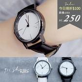 Leisure.香港FEIFAN。旋渦指針線條無字皮革錶帶手錶【ta524】*911 SHOP*