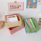韓國ins可折疊塑膠收納盒學生桌面整理手帳膠帶文具護膚品置物籃 88604