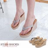 STAR SHOES-時尚美肌V字金屬邊楔型夾腳涼拖鞋