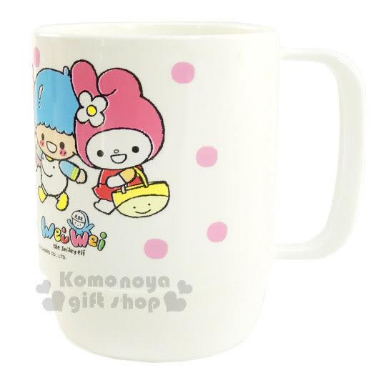 〔小禮堂〕Sanrio大集合 x Wei Wei 塑膠水杯《白.郊遊趣.Kitty.雙子星.美樂蒂.350ml》台灣製 4712937-66748
