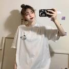 長款上衣 白色小熊短袖T恤女夏年韓版寬鬆百搭學生中長款上衣ins潮 晶彩