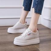松糕鞋 內增高女鞋鞋子女年新款厚底松糕鞋8cm皮質小白鞋休閑運動鞋【快速出貨】