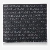 A/X 阿瑪尼圖案印刷雙折黑色皮夾