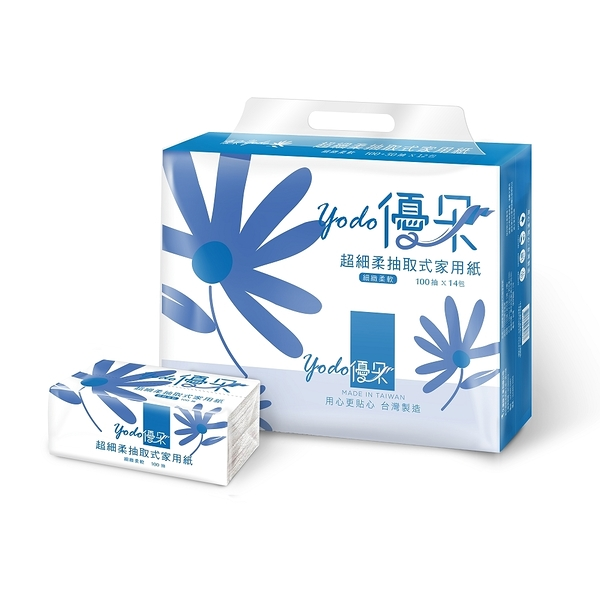 Yodo優朵超細柔抽取式花紋家用紙100抽X84包/箱