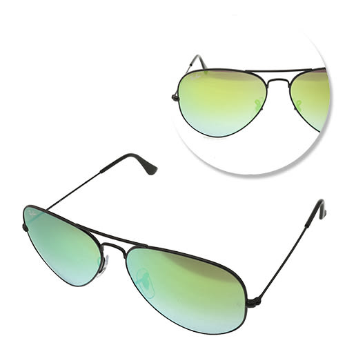 【Ray Ban】經典飛官黑框水銀鏡面太陽眼鏡-小版(RB3025-002-4J-58)