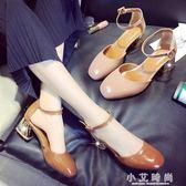 涼鞋 涼鞋女夏季韓版百搭粗跟學生高跟鞋包頭中跟公主鞋女鞋春 小艾時尚