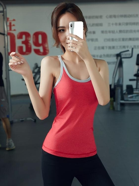 運動吊帶上衣含胸墊彈力透氣緊身顯瘦瑜伽上衣個性美背鏤空健身服  【快速出貨】