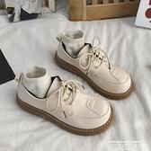 娃娃鞋 文藝復古小皮鞋女秋冬新款學生百搭原宿大頭娃娃鞋系帶單鞋女 萊俐亞 交換禮物