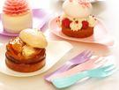 獨立包裝 彩色水滴蛋糕盤叉組5叉子5盤子...