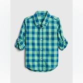 Gap男幼棉質舒適角扣翻領襯衫546030-綠色條紋