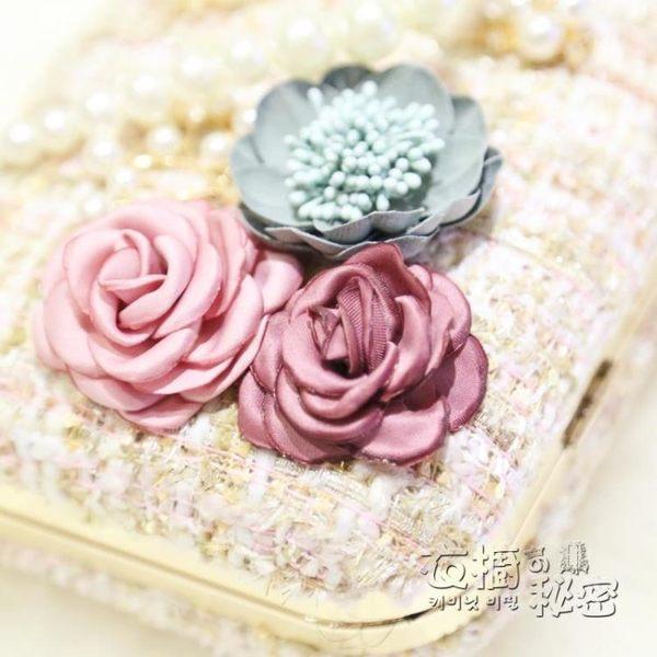 晚宴包 花朵晚宴包鑲鑽女包手拿包珍珠手提包小方包錬條包單肩包 衣櫥の秘密