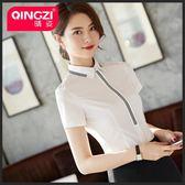 新款夏季雪紡襯衫韓版氣質上衣白色襯衣職業裝女裝工作服 GB3377『優童屋』
