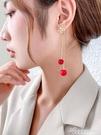 新款流蘇耳環長款過年紅色耳釘高級感新娘結婚珍珠耳墜氣質耳飾女 黛尼時尚精品