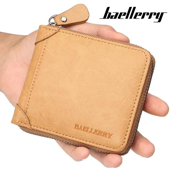 男士百搭男款多卡位錢夾 零錢包男士短款錢包 橫款韓版男錢包 拉鏈復古皮夾男生卡包商務短夾