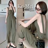 克妹Ke-Mei【ZT67907】Chic韓版設計感!寬鬆排釦吊帶連身褲裝