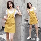 牛仔背帶裙 女夏裝新款韓版兩件套休閒洋裝氣質顯瘦吊帶連衣裙 EY7000『毛菇小象』