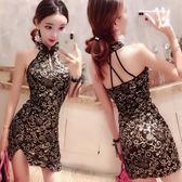 全館83折 女露背掛脖氣質開叉包臀裙燙金旗袍修身顯瘦連身裙