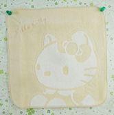 【震撼精品百貨】Hello Kitty 凱蒂貓~方巾/毛巾-米黃色底-白色坐