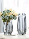 創意大號玻璃瓶透明彩色水培富貴竹百合玫瑰豎棱花瓶客廳插花擺件『韓女王』