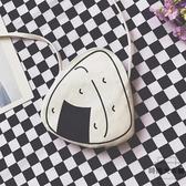 可愛飯團迷你帆布側背包零錢收納包斜背手機包【時尚大衣櫥】