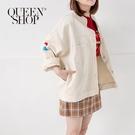 Queen Shop【02071077】刺繡富士山繡花斜紋銀釦外套*現+預*