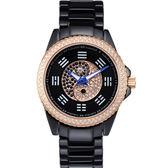 ELIDA 時來運轉 太極八卦鑲鑽陶瓷錶-黑 EA2988DM-RB