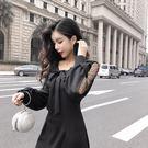 VK精品服飾 韓系泡泡袖網紗波點蝴蝶結高腰長袖洋裝