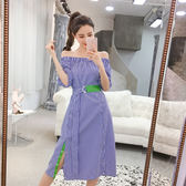 VK精品服飾 韓國風氣質收腰一字領系帶開叉格子短袖洋裝