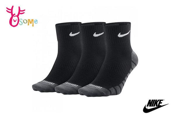 NIKE襪子 薄襪 1/4運動襪 (三雙入) 快速排汗 SX307#黑色◆OSOME奧森童鞋
