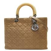 Dior 迪奧 棕色藤格紋棉質Cannage縫線手提肩背包 Lady Dior RU0959 【BRAND OFF】