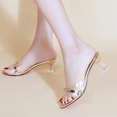 新款夏季涼拖鞋女韓版水鉆公主風高跟一字拖透明粗跟潮流百搭 瑪麗蘇