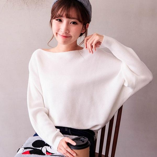 MIUSTAR 彈力橫條羅紋飛鼠袖針織上衣(共4色)【NH2820】預購