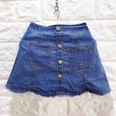 ☆棒棒糖童裝☆(S7235)夏女童鬆緊腰藍色牛仔短裙(內有安全褲)5-17