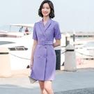 排釦腰帶上班短袖一件式洋裝連身裙[21S...