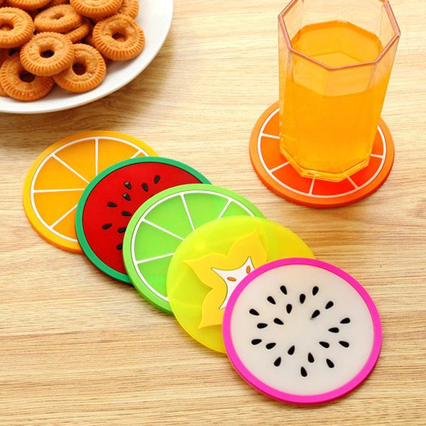 【TT12】繽紛果凍色水果造型杯墊矽膠杯子墊 創意防滑隔熱墊茶杯墊