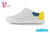 native 水鞋 洞洞鞋 JEFFERSON BLOCK 中童 活力普普風 奶油頭 懶人鞋 L9445#白黃◆OSOME奧森鞋業